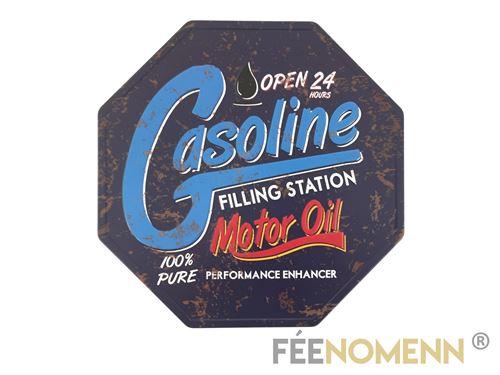 plaque métal déco vintage - octogone - station essence gasoline open 24h (30x30cm)