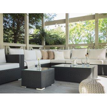 Beliani - Salon de jardin en rotin brun - coussins beiges - XXL ...
