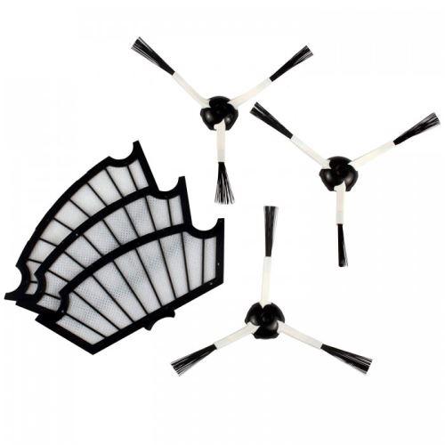 Pack 3 filtres moteurs + 3 brosses laterales mrk01 adaptables sur irobot roomba - b7-69v4-y10h