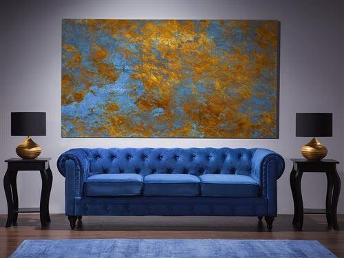 Canapé 3 places bleu cobalt Chesterfield