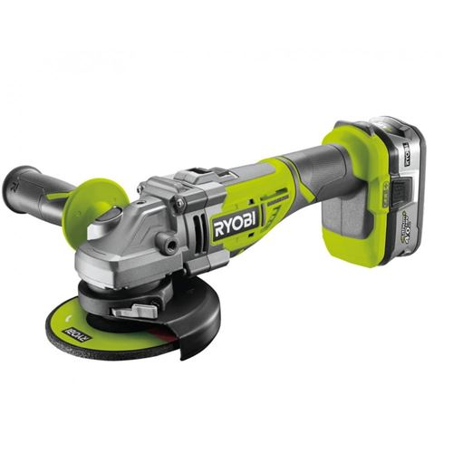 Ryobi - Meuleuse d'angle Brushless 125 mm 18V One+ 4.0Ah avec sac de transport - R18AG7-140S