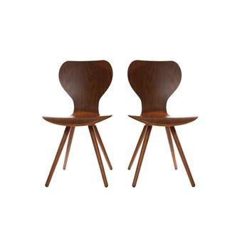 lot de deux chaises style scandinave en noyer naturel nordeco achat prix fnac - Chaise Style Scandinave
