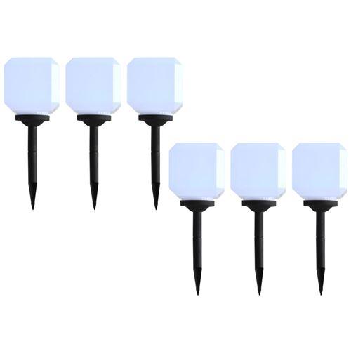 Lampes solaires cubiques à LED d'extérieur 6 pcs 20 cm Blanc
