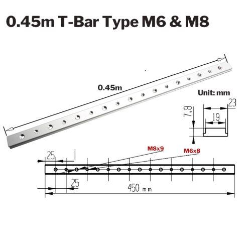 Curseur en T en alliage d'aluminium pour curseur en bois T-Track en T 450mm + filetage