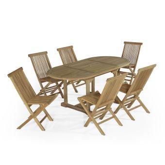 227€ sur Salon de jardin en teck Ecograde Manille, table extensible ...