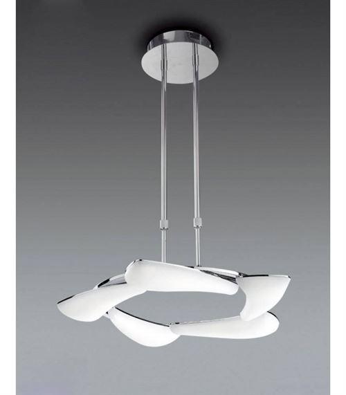 Suspension Mistral télescopique 30W LED rond 3000K, 2700lm, chrome poli/acrylique givré
