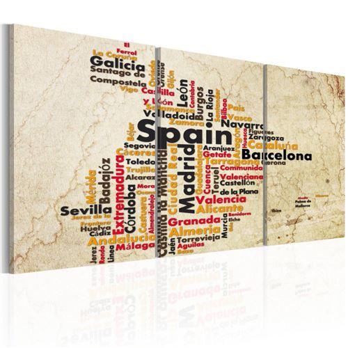 Artgeist - Tableau - Espagne: carte en couleurs nationales 60x30
