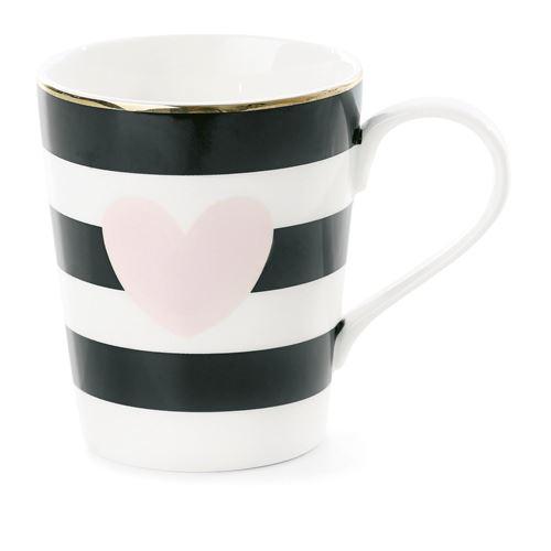 Mug avec poignée à Rayures et Cœur - Rose