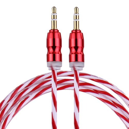 (#1) Color Style Metal Head 3.5mm Male to Male Plug Jack Stereo Audio AUX Cable for iPhone,1m(Red)
