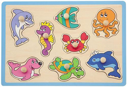 Jouéco puzzle forme créatures de la mer 8 pièces bleu
