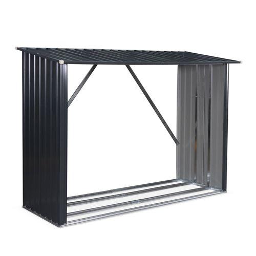 Bûcher en métal de 80 x 215 x 155 cm, gris anthracite - Épicéa - abri bûches en acier galvanisé, 2 stères