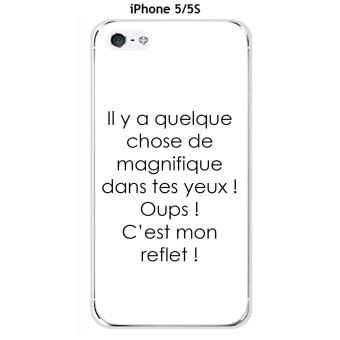 Onozo Coque TPU gel souple Apple iphone 5 5S 5SE design Citation Il y a quelque chose Texte noir fond blanc