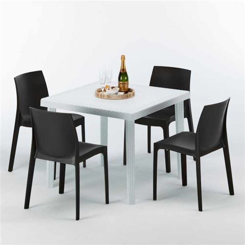 Table Carrée Blanche 90x90cm Avec 4 Chaises Colorées Grand Soleil Set Extérieur Bar Café ROME LOVE, Couleur: Noir