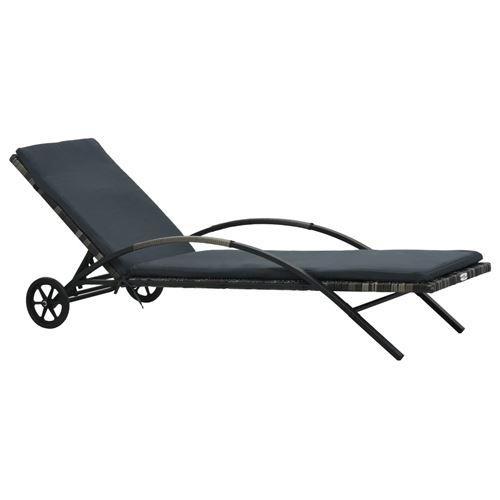 Chaise longue avec coussin et roues Résine tressée Anthracite 47746