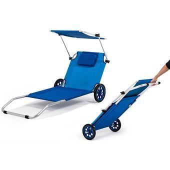 Transat De Plage Pliable Chariot A Roues Avec Auvent 3en1 Mobilier De Jardin Achat Prix Fnac