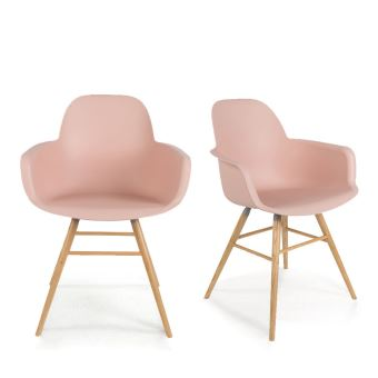 Lot de 2 fauteuils résine et bois Albert Kuip Zuiver