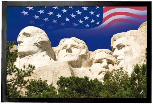 USA Paillasson Essuie-Pieds - Mémorial National Du Mont Rushmore Et Drapeau Des États Unis (40x60 cm)
