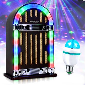 Jukebox Vintage autonome avec Bluetooth - Madison JUKEBOX10 + Ampoule LED  RVB