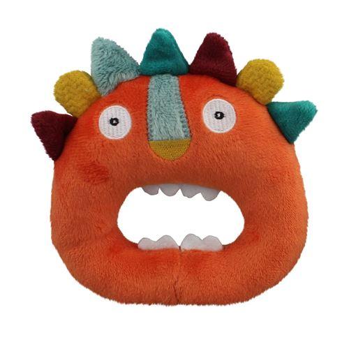 EBULOBO Hochet lion, grelot, velours tout doux, pour les petites mains, JUNGLE BOOGIE Orange