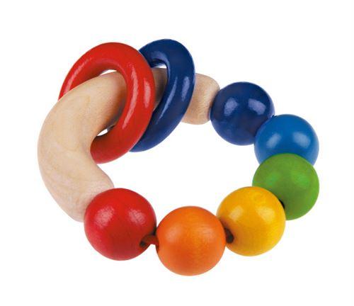 Selecta Spielzeug Rondelloanneau de préhension et de dentition junior 7,5 cm bois naturel