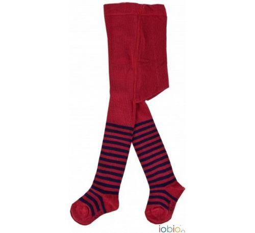 IOBIO - Collants bébé en coton bio - Rayé Rouge-Bleu - Taille - 9-12 mois (74-80cm)