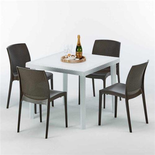 Table Carrée Blanche 90x90cm Avec 4 Chaises Colorées Grand Soleil Set Extérieur Bar Café BOHEME LOVE, Couleur: Marron