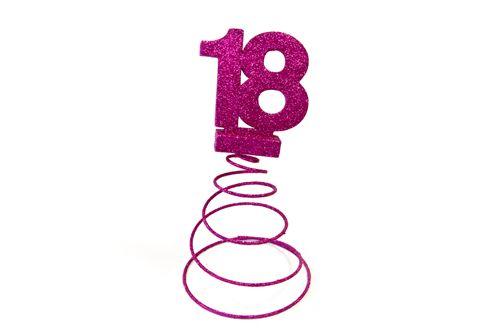 Lot de 10 Centres de table pour anniversaire 18 ans - Fuschia pailletée