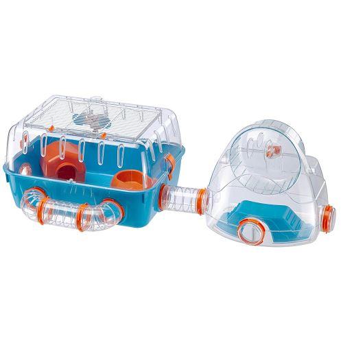 Ferplast Cage pour hamsters COMBI 2, habitat pour petits rongeurs, plastique robuste, toit avec grille qui s'ouvre, tunnel et module de jeux, accessoires inclus, 79,5 x 29,5 x h 26,3 cm Bleu