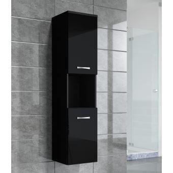 Armoire de rangement de Montreal Hauteur : 131 cm Noir brillant ...