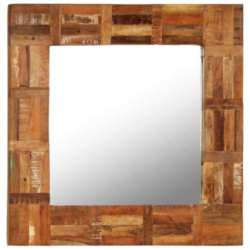 Miroir Mural Miroirs en verre + bois massif Miroir Décoration pour Salon miroir Salle de Bains Wodden miroirs 60 x 60 cm
