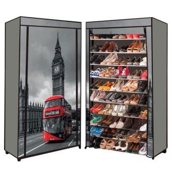 Etagere Range Chaussures 50 Paires Housse Imprime Londres Achat Prix Fnac