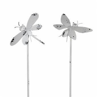 Lot de 2 Insectes à Piquer Décoration de Jardin Tuteur Abeille et Libellule  Décoratives en Fer Patiné Blanc 18x20x93cm