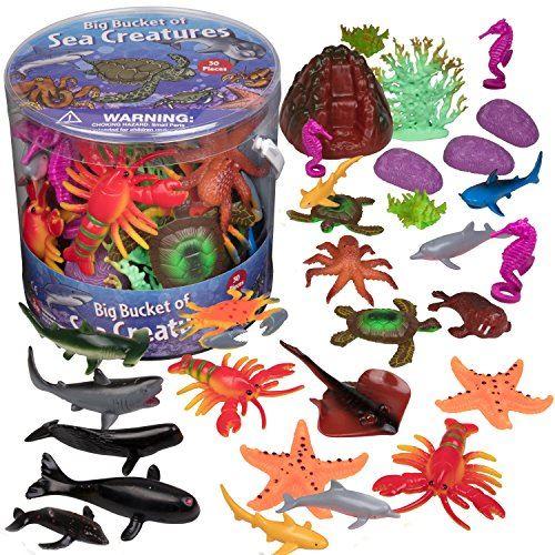 Figurines d'action SCS Direct Ocean Sea Creature - Grand seau de créatures marines - Ensemble énorme de 30 pièces