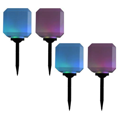 Lampes solaires cubiques à LED d'extérieur 4 pcs 20 cm RVB