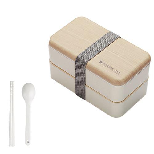 Micro-Ondes Boîte à Lunch Japonaise en Bois Bento Box 2 Couche de Stockage de Conteneurs Nouveau CFYP797
