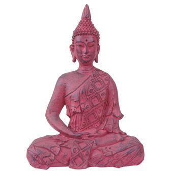 Xl Figure De Decoration Bouddha Assis 39cm Polyresin Sculpture Interieur Plein Air Rouge