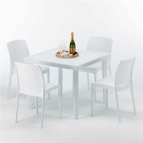 Table Carrée Blanche 90x90cm Avec 4 Chaises Colorées Grand Soleil Set Extérieur Bar Café BOHEME LOVE, Couleur: Blanc