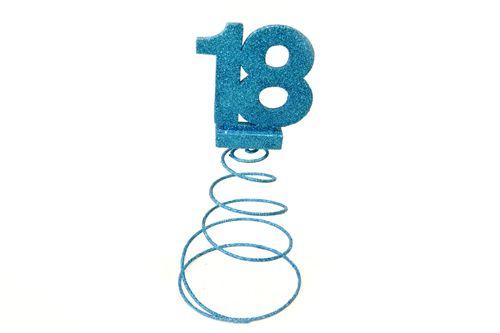 Lot de 10 Centres de table pour anniversaire 18 ans - turquoise pailletée