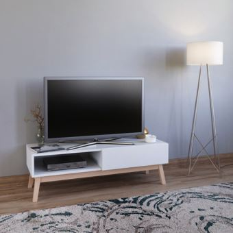 Meuble Tv Home 120 Cm 1 Tiroir 1 Niche Blanc Meuble Tv Achat Prix Fnac