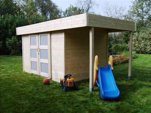 abri jardin bois larvik - 13.49 m² - 4.74 x 2.84 x 2.04 m - 28 mm