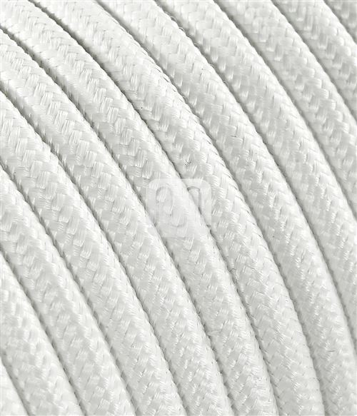 Câble électrique revêtu de tissu ronde coloré blanc 2 x 0,75 pour Lampadaires lampes-abat jour design. Made in Italy !