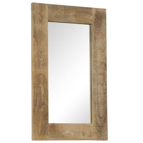 Miroir Mural Miroirs en verre + bois massif Miroir Décoration pour Salon miroir Salle de Bains Wodden miroirs 50 x 80 cm