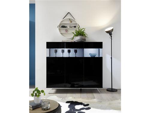 SUBLEEM Buffet 3 portes ENNA noir laqué brillant avec tissu noir et blanc
