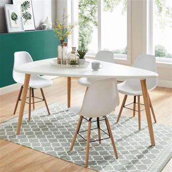 BENEDIKT Table a manger triangulaire 6 a 8 personnes scandinave blanc laque  satine - L160xl120 cm