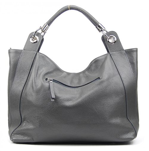 OH MY BAG Sac porté épaule Cuir porté épaule main bandoulière et de travers Femmes en véritable cuir fabriqué en Italie modèle PARIS Gris foncé