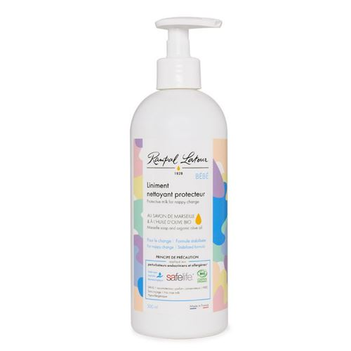 Liniment nettoyant protecteur pour bébé au savon de marseille et à l'huile d'olive bio, flacon pompe 500ml, label SAFELIFE