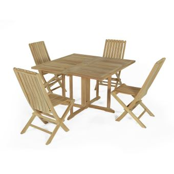 171€ sur Salon de jardin en teck Ecograde Hula, table pliante carrée ...