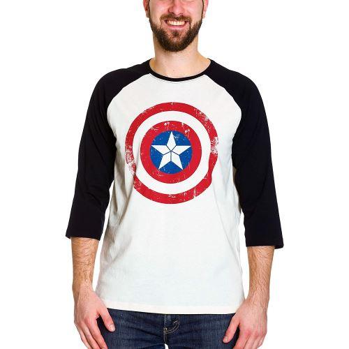 Civil War - T-shirt pour hommes Longsleeve Captain America Shield bouclier - Coton - Crème, noir - M