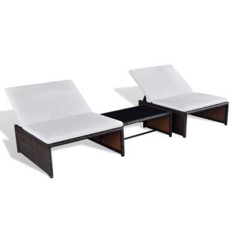 Ensemble de mobilier de jardin 2 places Rotin synthétique