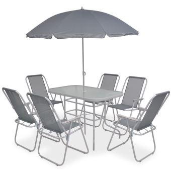 Salon de Jardin Textilène 1 Table et 6 Chaise Pliable avec Parasol Gris